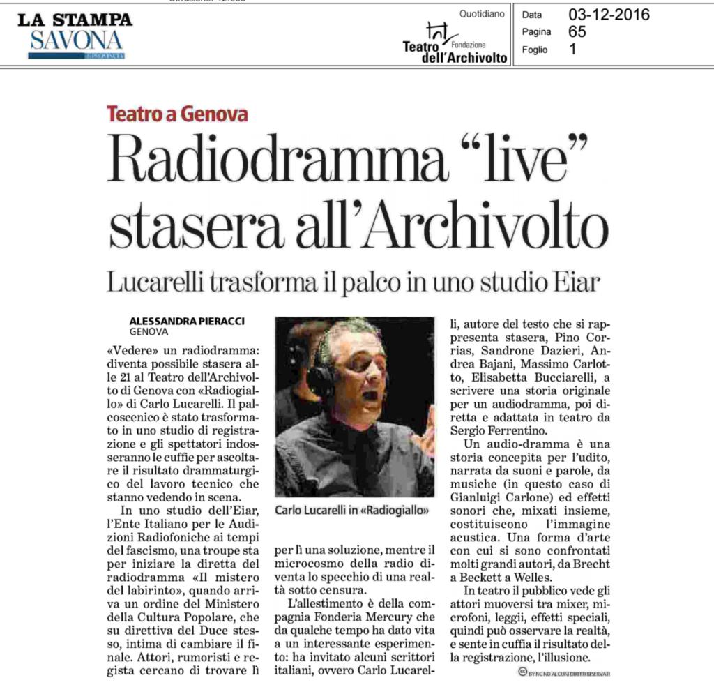 Radiodramma Live stasera all'Archivolto