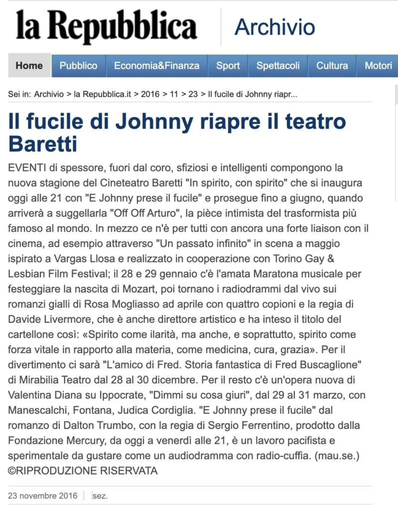 Il fucile di Johnny riapre il teatro Baretti